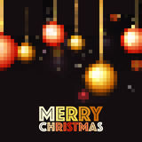 Bolas de Navidad del pixel para la celebración de la Feliz Navidad Foto de archivo