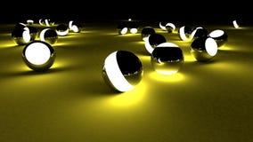 Bolas de neón en un fondo oscuro Esferas que brillan intensamente caóticas abstractas Fondo futurista Emplea el ejemplo para su Imagenes de archivo