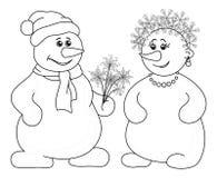 Bolas de neve com ramalhete do Natal, esboço ilustração do vetor