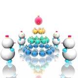 Bolas de nieve alrededor del Navidad-árbol Ilustración del Vector