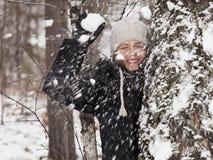 Bolas de nieve del juego Foto de archivo libre de regalías