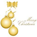Bolas de oro de la Navidad Fotografía de archivo libre de regalías