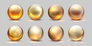 Bolas de oro del colágeno Aceite cosmético realista, gota de suero líquida, píldoras aisladas transparentes 3D Colágeno amarillo  stock de ilustración