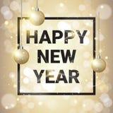 Bolas de oro de la decoración de la Feliz Año Nuevo sobre fondo que brilla libre illustration