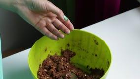 Bolas de rollos de una mujer fuera de la mezcla preparada, para cocinar los dulces del chocolate con la aspersión almacen de metraje de vídeo