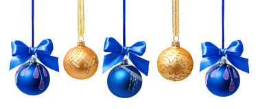 Bolas de suspensão do Natal isoladas Imagens de Stock Royalty Free