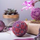 Bolas de Temari, una bola de la artesanía en estilo japonés tradicional Imagenes de archivo