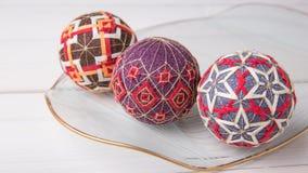Bolas de Temari, una bola de la artesanía en estilo japonés tradicional Imagen de archivo