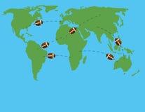 Bolas de vuelo en el mapa del mundo Foto de archivo