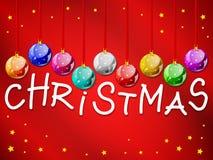 Bolas decorativas de la Navidad con título Imágenes de archivo libres de regalías