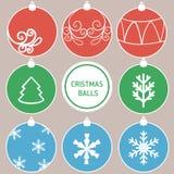 Bolas decorativas retras de la Navidad Fotografía de archivo