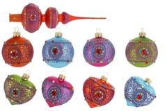 Bolas del árbol de navidad aisladas en blanco Fotos de archivo