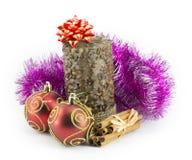 Bolas del Año Nuevo, de la Navidad, decoraciones y regalos Imagenes de archivo