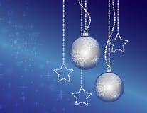 Bolas del azul de la Navidad Fotos de archivo