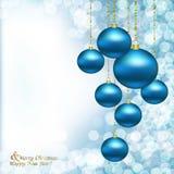 Bolas del azul de la Navidad Imagen de archivo