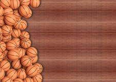 Bolas del baloncesto en piso de madera ilustración del vector