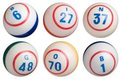 6 bolas del bingo Imágenes de archivo libres de regalías
