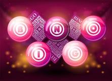 Bolas del bingo en fondo rosado Imágenes de archivo libres de regalías
