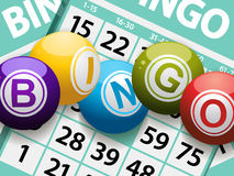 Bolas del bingo en un fondo de la tarjeta fotografía de archivo