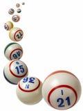 Bolas del bingo que caen Imagen de archivo libre de regalías