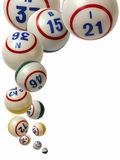 Bolas del bingo que caen Fotos de archivo libres de regalías