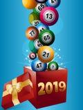 Bolas del bingo y caja de regalo 2019 ilustración del vector