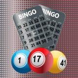 Bolas del bingo y tarjetas metálicas del bingo Foto de archivo libre de regalías