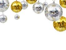 Bolas del brillo del disco por días de fiesta de la Navidad o del ornamento del Año Nuevo Fotos de archivo