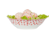 Bolas del cangrejo con la hoja de la ensalada Fotografía de archivo libre de regalías