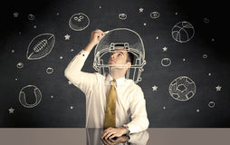 Bolas del casco y del deporte del dibujo del hombre de negocios Fotos de archivo libres de regalías