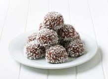 Bolas del coco del chocolate Fotografía de archivo