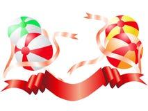 Bolas del color con la cinta Stock de ilustración