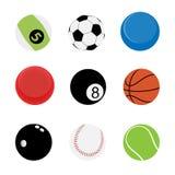 9 bolas del deporte Fotos de archivo