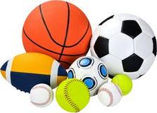 Bolas del deporte, aisladas en blanco Foto de archivo libre de regalías
