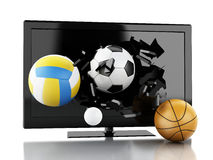 bolas del deporte 3d que rompen la pantalla de la TV Foto de archivo