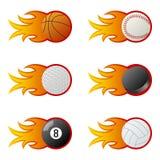 Bolas del deporte en las llamas [1] Fotografía de archivo libre de regalías