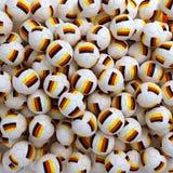 Bolas del fútbol de Alemania (muchas) 3d rinden el fondo Imagen de archivo libre de regalías