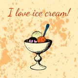 Bolas del helado en la taza para el postre Dibujo de la mano en estilo del vintage Foto de archivo libre de regalías