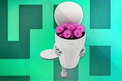 bolas del hombre 3D en papelera de reciclaje Foto de archivo libre de regalías