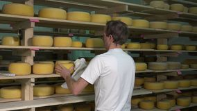 Bolas del queso en sitio de envejecimiento almacen de video