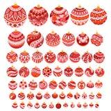 Bolas dibujadas mano de la Navidad del garabato del color fijadas Imagen de archivo libre de regalías