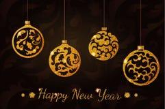 Bolas do brilho do ano novo Foto de Stock Royalty Free