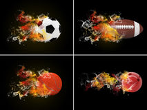 Bolas do esporte da coleção Fotografia de Stock
