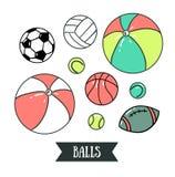 Bolas do esporte do desenho a mão livre Ilustração do vetor Grupo de elementos do projeto dos esportes ilustração royalty free