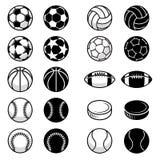Bolas do esporte do vetor e ilustrações do equipamento Fotos de Stock Royalty Free