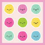 Bolas do fio de Kawaii ajustadas Estilo japonês Eps 10 Fotografia de Stock Royalty Free