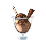 Bolas do gelado de chocolate em uma bacia de vidro Fotografia de Stock Royalty Free