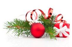 Bolas do Natal com neve Fotografia de Stock