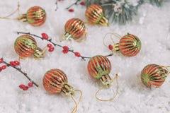 Bolas do Natal e do ano novo no fundo claro Imagem de Stock Royalty Free