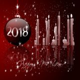 Bolas do Natal e luz da vela fotografia de stock